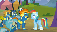 The Wonderbolts confront Rainbow Dash S6E7