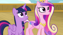 Twilight and Cadance listen to the cruise director S7E22