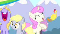 Twinkleshine and filly Derpy at a party S4E12