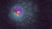 AJ and Apple Bloom look inside the pit S9E10
