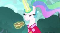 Celestia angrily eating a sandwich S9E13