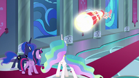 Cozy Glow fires magic at the princesses S9E24