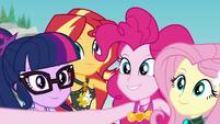 Equestria Girls taking a group selfie EGDS17