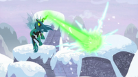 Queen Chrysalis blasts second snowy pillar S9E24