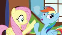 Rainbow pushes Fluttershy's hoof away S5E5
