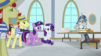 Rarity looks embarrassed at Star Swirl S8E16