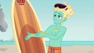 Zephyr Breeze pointing to his surfboard EGDS19.png