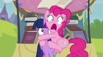 Pinkie Pie clinging to Twilight S4E22
