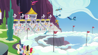 The Wonderbolts spiral through the sky S7E7
