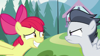 Apple Bloom grinning awkwardly at Rumble S7E21