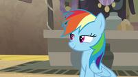 Rainbow Dash smirking at Pinkie Pie S7E18