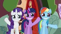 Rarity, Twilight, and Rainbow Dash waving goodbye S02E21