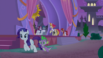Rarity and Spike leaving the troupe area S9E17