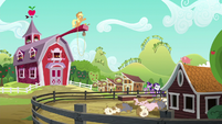 Applejack standing on a long wood beam S6E10