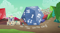 Giant d20 lands on the ground S6E17