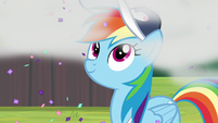 Rainbow Dash observing Smolder S9E15