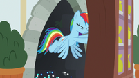 Rainbow emerges from behind trophy display case S8E17
