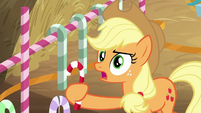 Applejack holding a candy cane BGES2