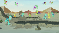 Changelings cheering happily S7E17
