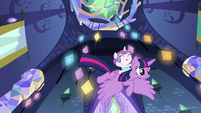 Twilight and Flurry fly down to Shining and Cadance S7E3