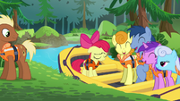 Apple Bloom on a boat with other ponies S6E4