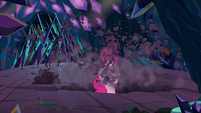 Pinkie Pie drills through to the other side S9E2