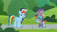 Rainbow Dash annoyed next to Snips S9E15