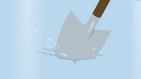 Shovel jammed into the ice BGES1