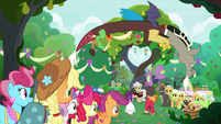 Applejack and friends head to the wedding S9E23
