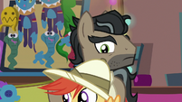 Caballeron looks at colt dressed as Daring Do S6E13