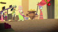 Daring Do and villagers look at Stalwart Stallion EGS2