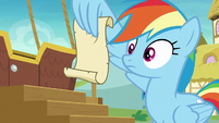 Rainbow Dash reading Applejack's rules S8E5