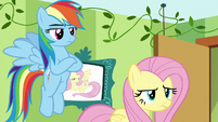 Rainbow and Fluttershy looking skeptical S6E11