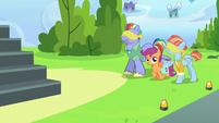 Scootaloo leading blindfolded Bow and Windy S7E7