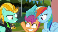 Scootaloo pops in between Rainbow and Lightning S8E20