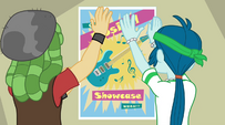 Unnamed male students hanging Mane Event poster EG2