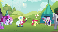 Apple Bloom and Orchard Blossom juggling bowling pins S5E17