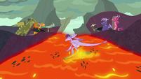 Dragons gorge-surfing down a lava ridge S7E25