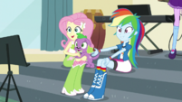 Rainbow, Fluttershy, and Spike look at Pinkie Pie EGS1