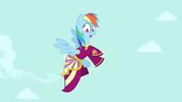 Rainbow Dash flying in Rarity's dress S4E23