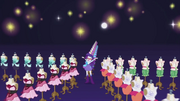 Rarity surrounded by rows of dresses EG2.png
