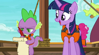 Spike dourly taking notes for Twilight S6E22