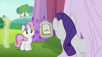 Sweetie Belle shows Rarity her designs sketch S6E14