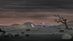 Twilight, Spike, and Starlight on the barren landscape S5E26.png