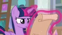 Twilight Sparkle reading the scroll S8E25