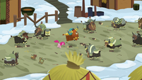 Wide shot of Pinkie Pie and yaks stomping S7E11
