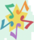 Yellow star surrounded by five eighth notes - green, orange, red, purple, and blue