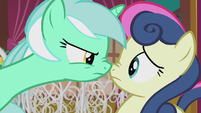 Lyra pressing her muzzle against Sweetie Drops S5E9