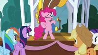 Pinkie Pie winking at her friends S8E18