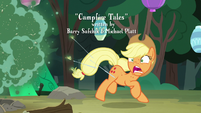 Applejack dashing out of the Fly-der swarm S7E16